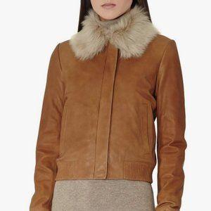 Reiss Mabel Fur Collar Leather Bomber